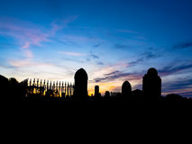 Graveyard at sunset Stock Image