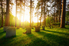 Graveyard in sunset with warm light Stock Photo