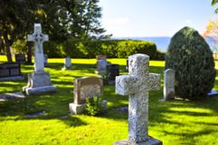 Graveyard with tombstones Royalty Free Stock Photo