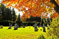 Graveyard with tombstones Royalty Free Stock Photos
