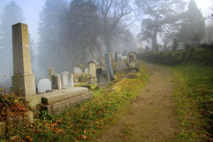 Graveyard in transylvania. Autumn graveyard (cemetery) with fog in sighisoara, transylvania, romania stock photography