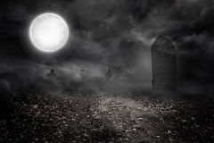 Graveyard under the full moon Royalty Free Stock Images