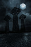 Graveyard under the full moon Royalty Free Stock Photo