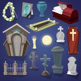 Graveyard vector scary cemetery and halloween horror in night illustration set of spooky grave or tomb and tombstone Stock Photo