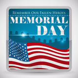 Graveyard View Button for Memorial Day Commemoration, Vector Illustration Royalty Free Stock Photo