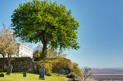 Graveyard and white house by sea Stock Image