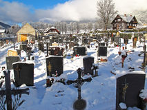 Graveyard in winter Royalty Free Stock Photo