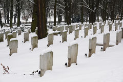 Graveyard in the winter Royalty Free Stock Photos