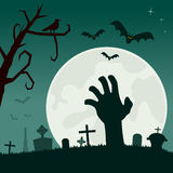 Graveyard with Zombie Hand. Halloween night scene background with the moon over a creepy cemetery with a zombie hand emerging from the ground, gravestones and royalty free illustration