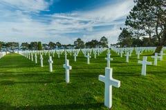 Graveyards of fallen soldiers in Normandy Stock Photo