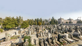 Graveyards field at Monumental Cemetery, Milan. View of one of the graveyard fields at large monumental Cemetery in town, shot in bright late winter light  in Stock Images