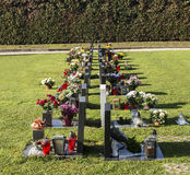 Graveyards with flowers Royalty Free Stock Image