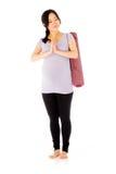 Gravid asiatisk kvinna som isoleras på vit preying Fotografering för Bildbyråer