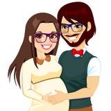 Gravid familj för Hipster Arkivbild