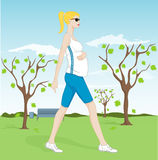 gravid gå kvinna för park stock illustrationer