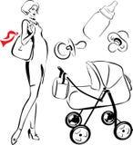 gravid kvinna vektor illustrationer