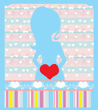 Gravid kvinna baby showerkort Fotografering för Bildbyråer