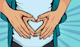 Gravid kvinna för popkonst och älskamake som kramar magen vektor illustrationer