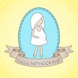 Gravid kvinna för whith för hälsningkort Arkivbild