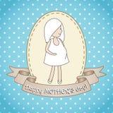 Gravid kvinna för whith för hälsningkort Royaltyfri Bild