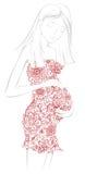 Gravid kvinna i blom- klänning Arkivfoto