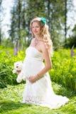 Gravid kvinna på naturen Arkivfoton