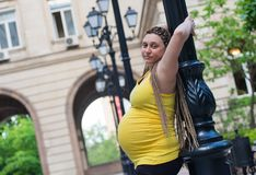 Gravid kvinna Pole Royaltyfri Bild