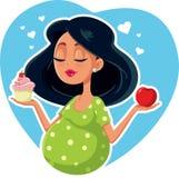 Gravid kvinna som väljer mellan Apple och muffin vektor illustrationer