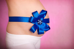 Gravid kvinnabuk på rosa färger Royaltyfria Bilder