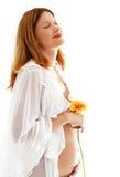 gravid lycklig lady Fotografering för Bildbyråer