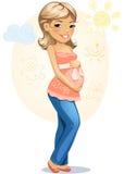 gravid lycklig mom Arkivfoto