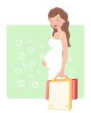 gravid shoppingkvinna royaltyfri illustrationer