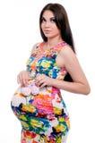 gravid studiokvinna Arkivbilder