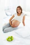 Gravid ung kvinna som rymmer Apple, medan sitta på sängen Hea Fotografering för Bildbyråer
