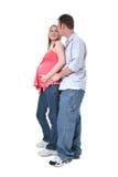 gravida förtjusande par royaltyfri bild