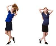 Gravida kvinnan i sammansatt bild som isoleras på vit Arkivfoto