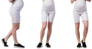Gravida kvinnan i sammansatt bild som isoleras på vit Fotografering för Bildbyråer