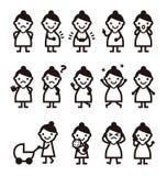 Gravida kvinnan med olikt poserar och uttryckt royaltyfri illustrationer