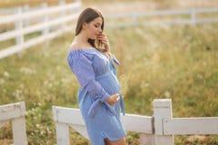 Gravida kvinnan satte handen på hennes buk och smekning Härlig framtida moder fotografering för bildbyråer