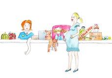 Gravida kvinnan shoppar i supermarketvattenfärgmålning Royaltyfri Bild