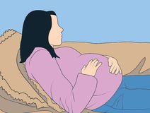 Gravida kvinnan som ligger på hennes tillbaka hållande buk - behandla som ett barn inom royaltyfri illustrationer