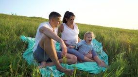 Gravida par med litet barndottern har fritid utomhus i gräsfält på filten arkivfilmer