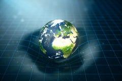 a gravidade do ` s da terra da ilustração 3D dobra o espaço em torno dela com efeito do bokeh A gravidade do conceito deforma a g ilustração royalty free