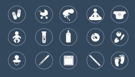 Gravidanza delle icone stile di progettazione bianco su buio Immagini Stock Libere da Diritti