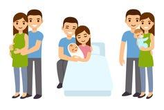 Gravidez e nascimento na família ilustração royalty free