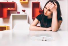 Gravidez, jovem mulher frustrante do teste positivo imagem de stock