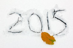 2015 graviert auf dem Schnee mit Niederlassungen und gelbem Blatt Lizenzfreies Stockbild