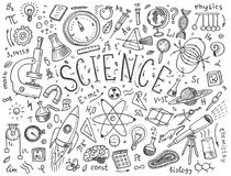 gravierte Hand gezeichnet in alte Skizzen- und Weinleseart wissenschaftliche Formeln und Berechnungen in der Physik und in der Ma Lizenzfreies Stockfoto