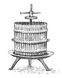 Gravierte Hand gezeichnete Illustration der Kelterei Weinlese Stockbild