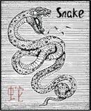 Gravierte Illustration des Tierkreissymbols mit Schlange und Beschriftung Stockfotografie